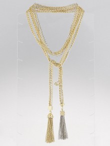 Louis Vuitton Gold and Palladium Plated Charly Tie Necklace