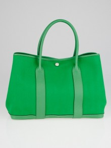 Hermes Bambou Canvas and Leather Garden Party MM Bag