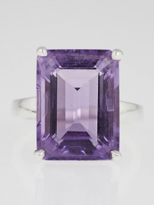 Tiffany & Co. Sterling Silver and Amethyst Sparklers Cocktail Ring Size 6