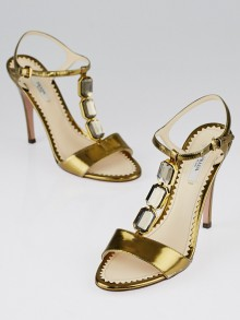 Prada Bronze Lame Leather Jeweled T-Strap Sandals Size 6.5/37
