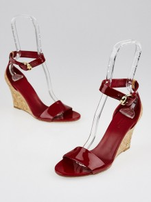 Gucci Red Patent Leather Open-Top Cork Wedges Size 7