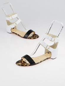 Christian Louboutin White/Black Leather Tres Bea Flat Sandals Size 6/36.5
