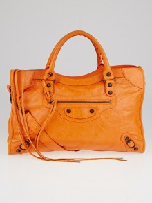 Balenciaga Tangerine Lambskin Leather Motorcycle City Bag
