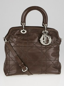 Christian Dior Brown Cannage Quilted Lambskin Leather Granville Tote Bag