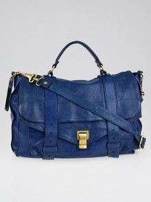 Proenza Schouler Blue Leather Large PS1 Satchel Bag