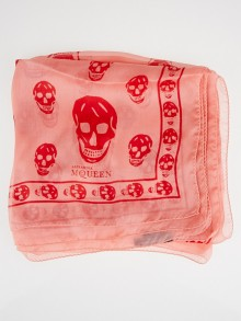 Alexander McQueen Coral/Red Silk Chiffon Classic Skull Scarf