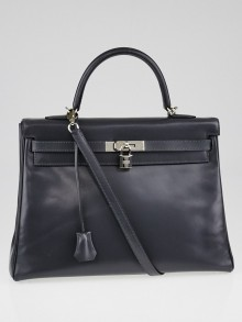 Hermes 35cm Graphite Box Leather Palladium Plated Kelly Retourne Bag