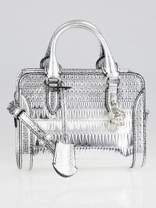 Alexander McQueen Silver Embossed Leather  Mini Skull Padlock Bag