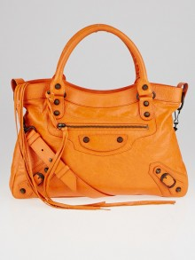 Balenciaga Tangerine Lambskin Leather Motorcycle Town Bag