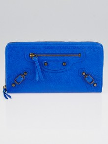 Balenciaga Blue Lazuli Leather Classic Continental Zip Around Wallet
