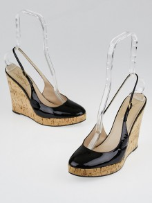 Yves Saint Laurent Black Patent Leather and Cork Lili 100 Slingback Wedges Size 9.5/40
