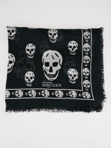 Alexander McQueen Black and White Modal Skull Scarf
