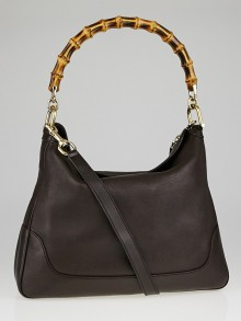 Gucci Brown Pebbled Leather Diana Bamboo Handle Shoulder Bag