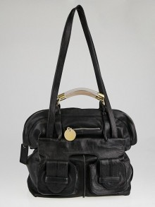 Chloe Black Leather Saskia Square Tote Bag