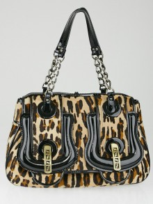Fendi Leopard Print Calf Hair and Black Patent Leather B Bag