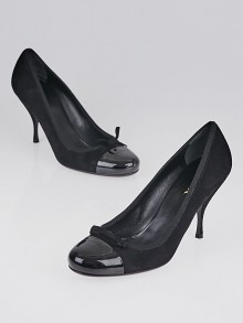 Prada Black Suede and Cap-Toe Pumps Size 7.5/38
