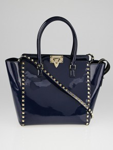 Valentino Marine Blue Patent Leather Double Handle Tote Bag