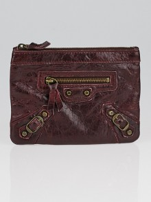 Balenciaga Bordeaux Lambskin Leather Classic Porte Monnaie Zip Coin Purse