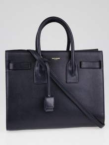 Yves Saint Laurent Navy Blue Calfskin Leather Classic Small Sac de Jour Tote Bag