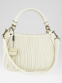 Burberry White Plisse Leather Studded Medium Didley Bag