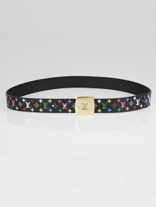 Louis Vuitton 30mm Black Monogram Multicolore LV Cut Reversible Belt Size 90/36