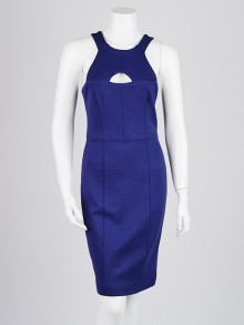 Burberry London Lapis Blue Viscose Blend Paula Cut-Out Dress Size 6