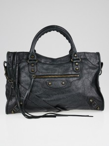 Balenciaga Black Lambskin Leather Motorcycle City Bag