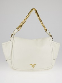 Prada White Cervo Lux Chain Flap Bag