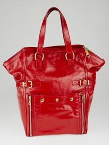 Yves Saint Laurent Red Patent Leather Large Downtown Tote Bag