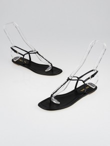 Prada Black Patent Leather and Crystal Thong Sandal Size 8/38.5
