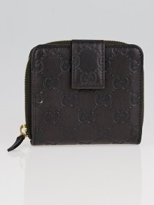 Gucci Black Guccissima Leather Compact French Wallet