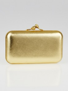 Alexander McQueen Gold Leather Twin Skull Evening Clutch Bag