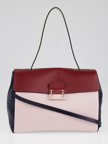 Valentino Pink/Navy Multicolor Leather Small Single Handle Bag
