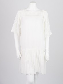 Isabel Marant Etoile White Embroidered Viscose Georgette Aude Dress Size 6/38