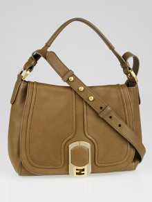 Fendi Taupe Leather Medium Anna Shoulder Bag