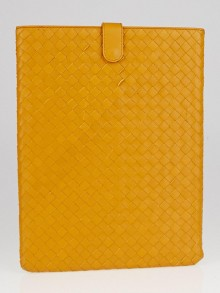 Bottega Veneta Persimmon Intrecciato Woven Nappa Leather iPad Case