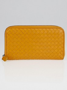 Bottega Veneta Persimmon Intrecciato Woven Nappa Leather Zip Around Wallet