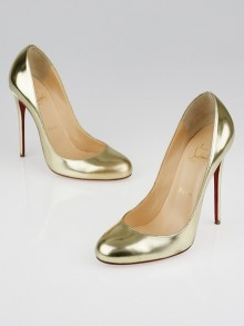 Christian Louboutin Gold Metal Gloss Leather Fifi 120 Pumps Size 7/37.5