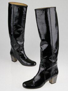 Lanvin Black Patent Leather Strass-Heel Chunky Boots Size 7.5/38