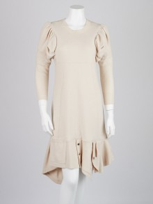 Louis Vuitton Cream Wool Blend Sweater Dress Size S