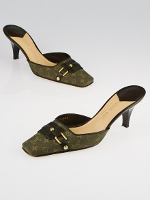 Louis Vuitton Dark Khaki Monogram Mini Lin Mules Size 6.5/37
