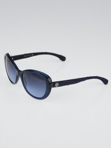 Chanel Blue Acetate Frame and Tweed Sunglasses-5241