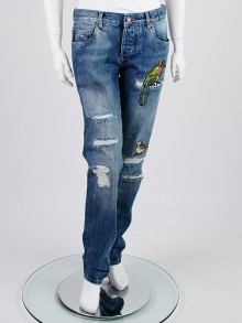 Dolce & Gabbana Blue Cotton Denim Embroidered Bird Jeans 10