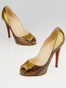 Christian Louboutin Ambra Roma Python Very Prive Peep-Toe 120 Pumps Size 7/37.5