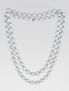 Chanel Vintage Grey Pearl Long Necklace
