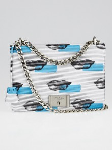 Prada Blanco/Azzurro Vitello Daino Leather Lip Print Shoulder Bag 1BD028