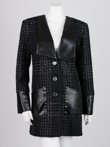 Chanel Black Tweed and Faux Leather Coat Size 8/40