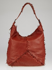 Bottega Veneta Brown Intrecciato Woven Nappa Leather Fuzzy Shoulder Bag
