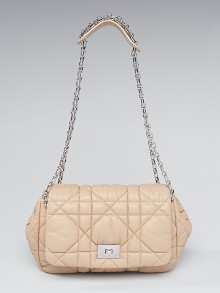 Christian Dior Beige Cannage Quilted Lambskin Leather Flap Bag