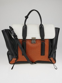 3.1 Phillip Lim Tricolor Embossed Leather Large Pashli Shoulder Bag